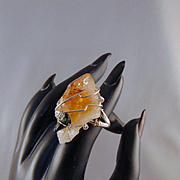 Sterling Silver Wire Wrapped Citrine and Green Coral Ring