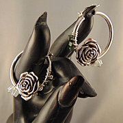 Sterling And Sterling Silver Filled Hoop Earrings w Hematite and Czech Glass Crystals