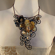 Annealed Steel and Brass Floral Filigree Necklace