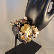 Steel, Brass and 14KGF Large Cuff Bracelet w Druzy and CFWP