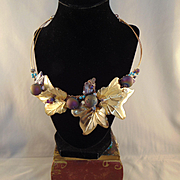 Jeweler's Brass, 14KGF  Leaf and Berries Necklace