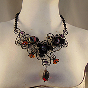 Annealed Steel and Blackened Brass Floral Filigree Necklace