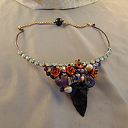 Annealed Steel and Brass w Arrow Head, Czech Glass Crystals,Amethysts and Cultured Freshwater Pearls
