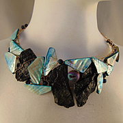 Shell, Black Stone and Druzy on Jeweler's Brass Choker