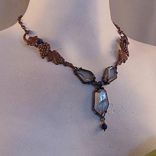 Recycled Brass and Acrylic w Druzy Bead Necklace