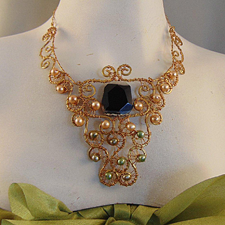 Cultured Pearls and Agate on Brass Necklace
