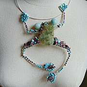 Sterling Silver Big Bejeweled Frog Necklace
