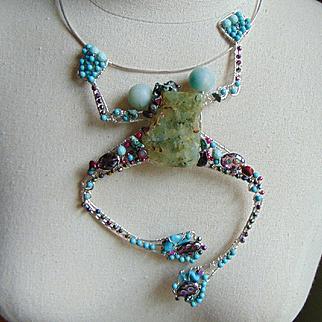 Sterling Silver Big Bejeweled Frog Necklace