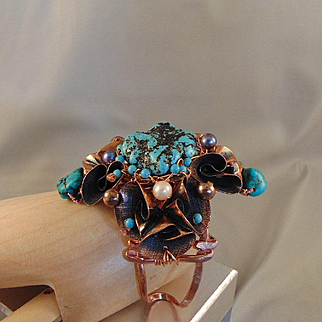 Turquoise and Cultured Pearls on Copper Bracelet