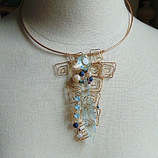 Aqua Glass Crystal w Cultured Pearls on Brass Choker