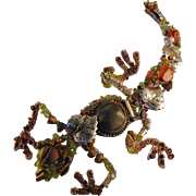 Mixed Metal Bejeweled Draped Lizard Necklace