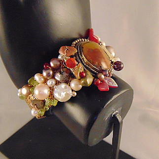 Bejeweled Brass Cuff Bracelet