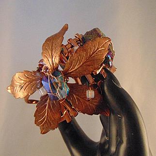 Copper Sculpted Floral Design Cuff Bracelet
