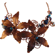 Copper Floral Necklace with Blue Jewels