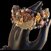 Mixed Metal Bracelet w Raw Aquamarine and Irradiated Druzy wrapped Bracelet