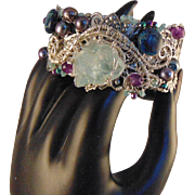 Sterling Silver Set Raw Aquamarine on Silver Plated Steel Cuff Bracelet