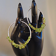 Sterling Silver Hoop Earrings w Peridot
