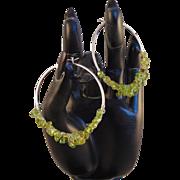 Sterling Silver Hoop Earrings w Peridot