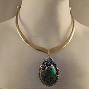 Abalone on Sterling Silver Choker