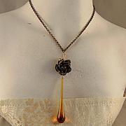 Crystal Honey Drop Brass Necklace
