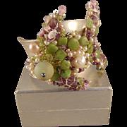 Amethyst, Nephrite Jade and Cultured Freshwater Pearls Sterling Silver Bracelet