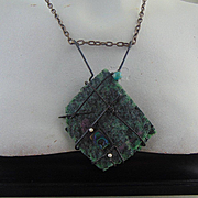 Slice of Ruby n Zoisite on Annealed Steel Necklace