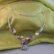 Abalone and Cultured Freshwater Pearls on Sterling Silver and 14KGF Choker w El Peca Mexican Silver Leaves