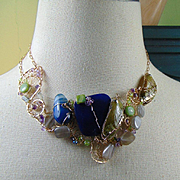14KGF Choker with Blue Agate Bejeweled