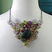 Mixed Metal Necklace with African Jade, Peridot and Swarovski Crystals