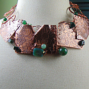 Patchwork Copper Necklace w Green Jasper, Agate and Chalcedony