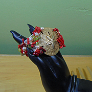Mixed Metal Sand Dollar Cuff w Coral, Peridot and Swarovski Crystal Pearls