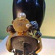 Mixed Metals Bracelet w Polymer, Hematite and Swarovski Crystal Pearls