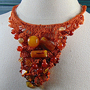 Crocheted Burnt Orange Silk on Brass Necklace with Lucite, Fire Agate and Czech Glass