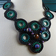Crocheted Necklace with Wood, Agate and Druzy
