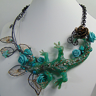 Sculpted Resin Lizard on Annealed Steel and 14KGF Necklace