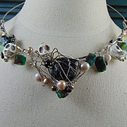 Sterling Silver Agate and Cultured Freshwater Pearls Day of the Dead Necklace