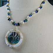 Lapis, Cultured Freshwater Pearls and Jade Necklace w Wire Wrapped Glass Cabochon