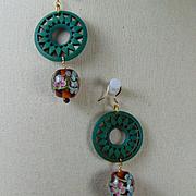 Wood and Milliflori on 14KGF Earrings