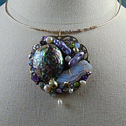 Sterling Silver n 14KGF Choker w Abalone Cultured Freshwater Pearls Mixed Metal Pendant