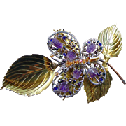 Mixed Metal Butterfly on Branch Pin w Amethysts