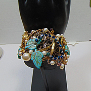 Brass and 14KGF Cuff w Cultured Freshwater Pearls and Reconstituted Turquoise