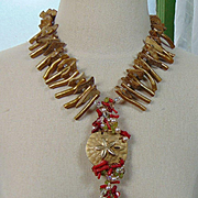 Corals, Wood and Mixed Metals Necklace