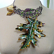 Mixed Metal Leaves w Amethysts and Jade Necklace