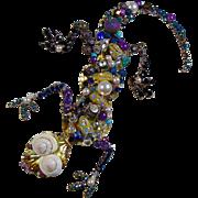 Big Lizard Pin of Mixed Metals and Multi-Gems