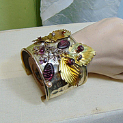 Mixed Metal Leaf n Web Cuff