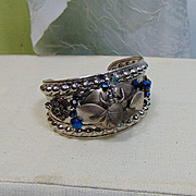Sterling Silver Bee on Mixed Metal Cuff w Blue Czech Glass Crystals