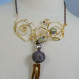 Brass, 14KGF Necklace w Polymer, Steel and Dyed Coral Beads
