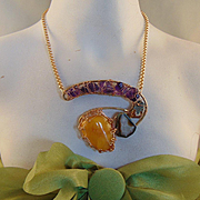 Jeweler's Brass w Amethyst and Amber Necklace