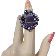 Adjustable Ring of Amethyst, Cultured Freshwater Pearls, Czech Glass Crystals and Hematite