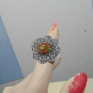 Adjustable Filigree Ring w Czech Glass Bead